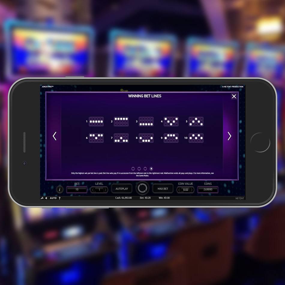 Joker Pro Slot Game Paylines