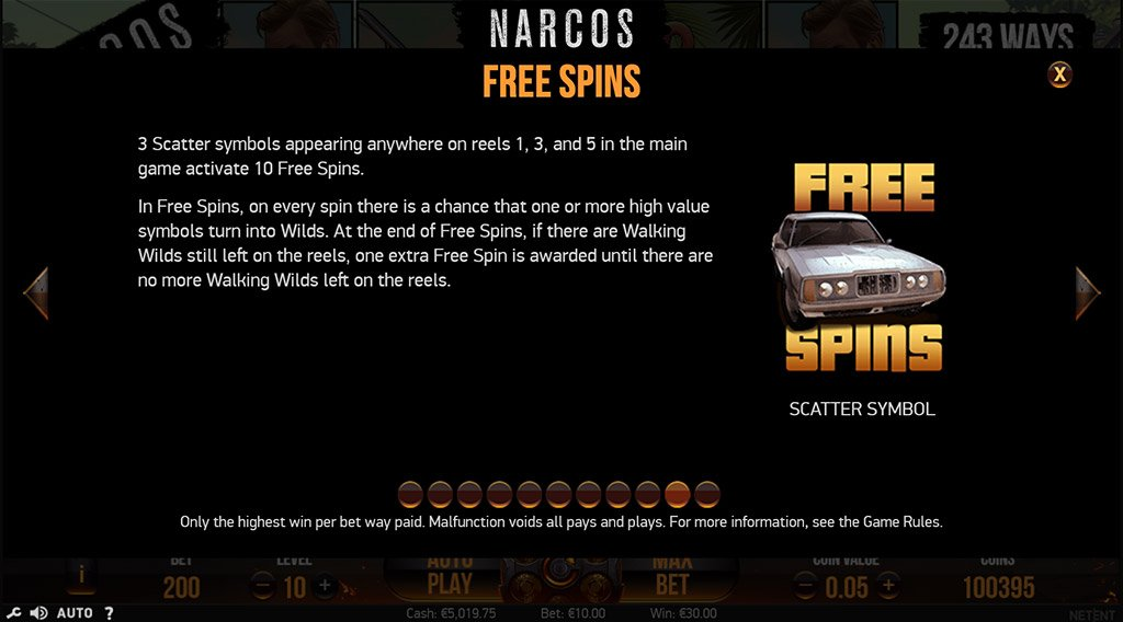 Narcos by NetEnt Slot Free Spins