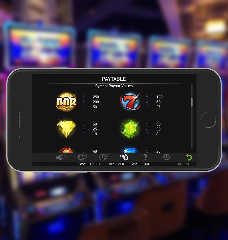 Starburst Mobile Slot Machine Paytable