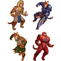 Time Travel Tigers Slot Machine Main Characters